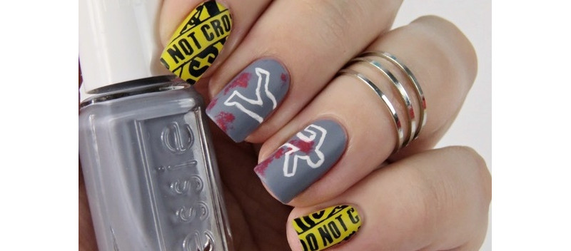 Halloween-Nageldesign-Crime-Scene-Nails