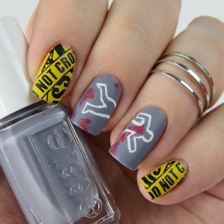 Krimi Nägel als Halloween Nageldesign - Crime Scene Nails mit essie petal pushers
