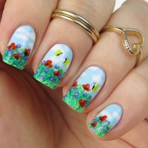 Spring Nail Art with Flowers: Nageldesign Frühling 2015 mit Blumen und einer Frühlingswiese