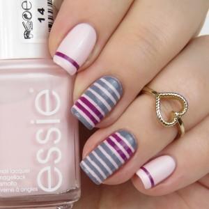 Einfaches Nageldesign mit Streifen: Striping Tape Nails