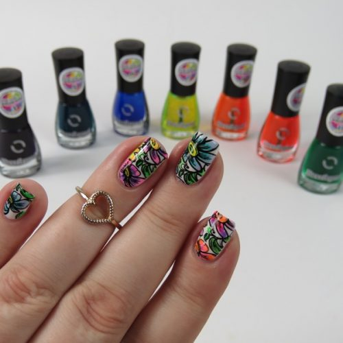 Easy Floral Nail Art with Dance Legend Top Coat Aquarelle