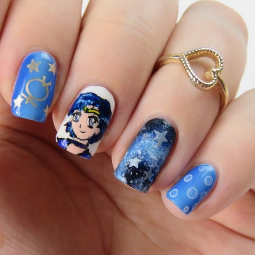 Sailor Moon Nails: Sailor Mercury Nail Art