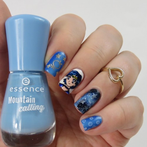 Sailor Mercury Nails: Sailor Moon Nail Art with Acrylic Paint
