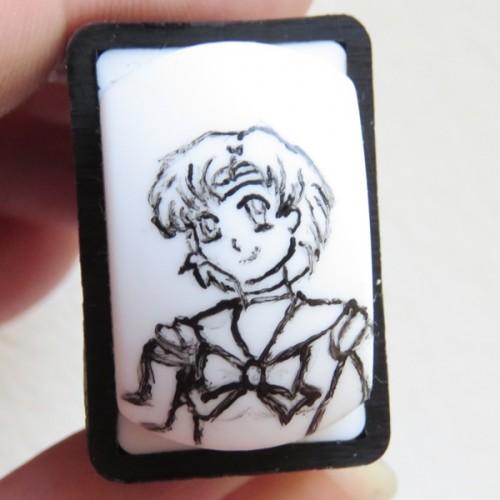 Sailor Merkur Umrandungen mit Acrylfarbe auf einem Nail Art Stamper