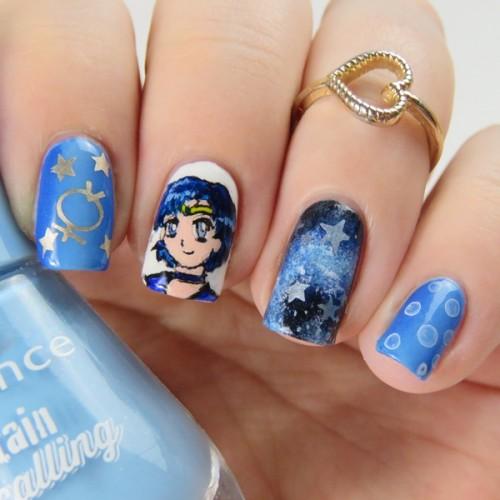 Sailor Merkur Nageldesign mit Acrylfarben und Nagellack