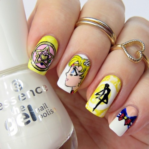 Sailor Moon Nail Art with Acrylic Paint