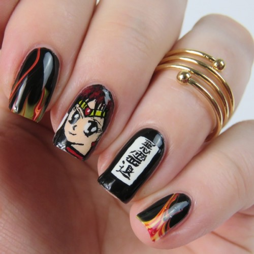 Anime Nails: Sailor Moon Blogparade Sailor Mars Nail Art