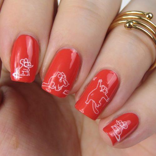 Nageldesign für Anfänger und Katzen Freunde: Simon's Cat Water Decals über essence the gel nail polish 47 va-va-voom