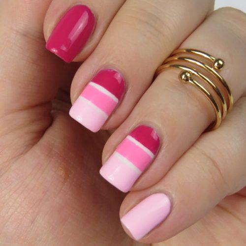 Pink Striping Tape Manicure: Ein einfaches Nageldesign mit dünnen Klebestreifen und Nagellacke von Dance Legend sowie essence.