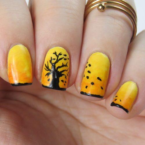 Herbstnägel: Schönes und einfaches Herbst Nageldesign, auch für Anfänger. Handgemalt mit Acrylfarben und Video Anleitung