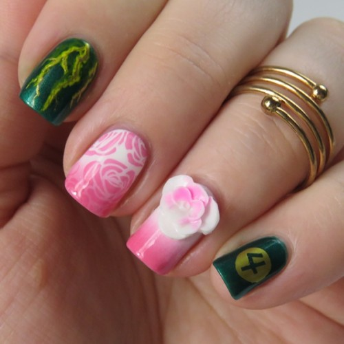 Makoto Kino / Sailor Jupiter Nail Art: Easy Nail Design for Sailor Moon Fans to do their nails