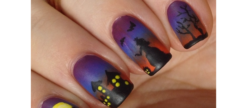 Gruseliges Halloween Nageldesign