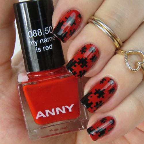 Puzzle Nails: Easy Stamping Nail Design with Anny nail polish and mundo de unas