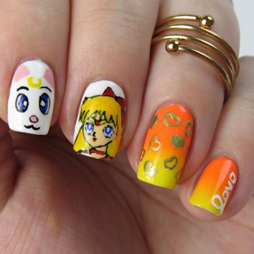 Sailor Venus Nails: Sailor Moon Nail Art mit Minako Aino und Artemis