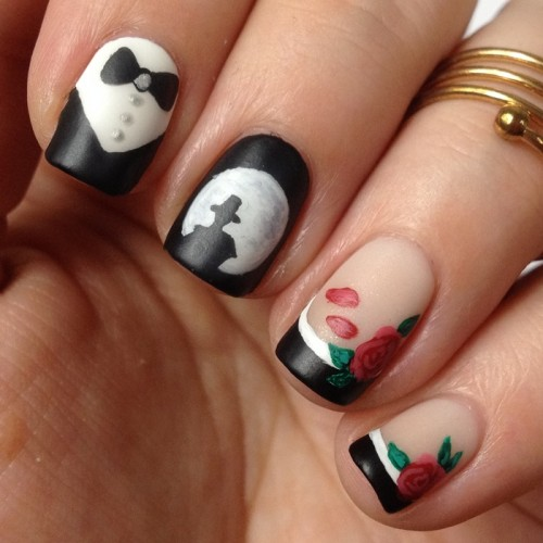 Sailor Moon Nails: Tuxedo Mask Nail Art with Roses and Tuxedo