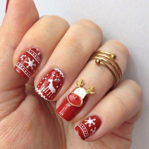 Stamping Nails Sweater Nails: Winter Nageldesign in Rot und Weiß