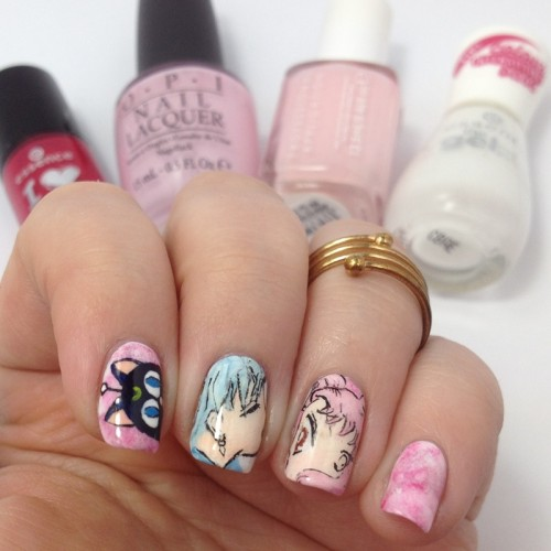Sailor Moon Nail Art: Sailor Chibi Moon Nails with Helios / Pegasus and Luna P