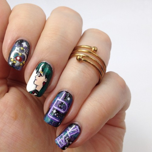 Sailor Pluto Nails: Sailor Moon Nail Art with Sailor Pluto / Setsuna Meiou