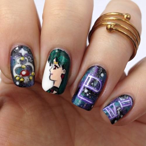 Sailor Pluto Nageldesign: Setsuna Meiou bzw. Sailor Pluto aus Sailor Moon als Nail Design