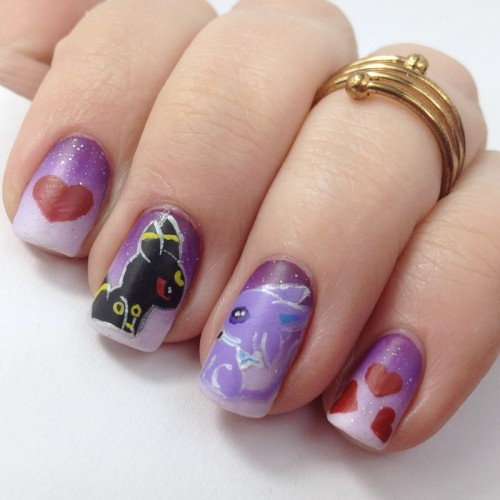 Umbreon and Espeon Nails Design