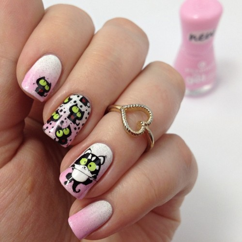Reverse Stamping Advanced Stamping Nail Art Design with cats and nail polish