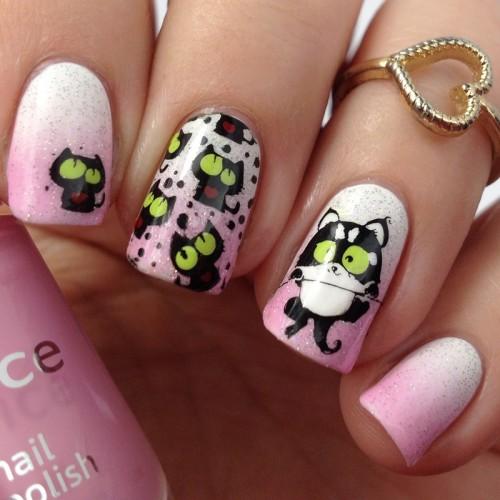 Süßes Nageldesign mit Nagellack selber machen: Nail Art Design mit Katzen und Nagellacken stempeln