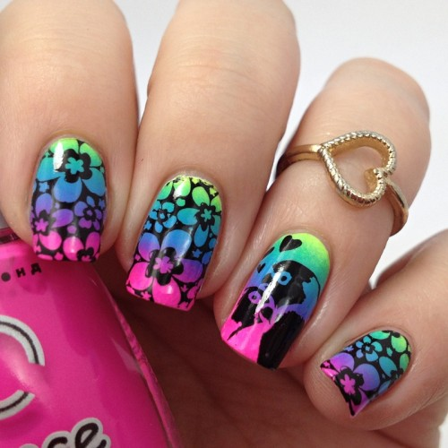 Neon Flower Nails and Gradient: Buntes Nageldesign für den Sommer selber machen mit Video Anteilung Tutorial