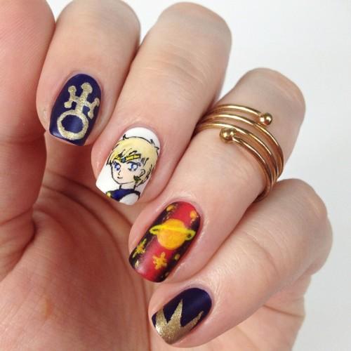 Sailor Moon Nail Art: Sailor Uranus Nageldesign für die Sailor Moon Blogparade mit Haruka Tenoh