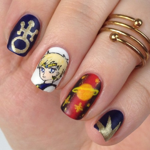 Sailor Moon Nail Art: Sailor Uranus Nageldesign für die Sailor Moon Blogparade mit Haruka Tenoh