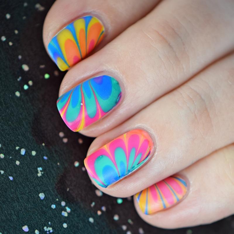 water marble nail art anleitung deutsch auf nisinailsde mit p2 gloss goes neon nagellack - Fingernagel Lackieren Muster