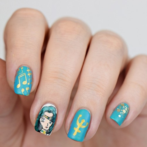 Sailor Moon Blogparade: Sailor Neptun Michiru Kaio Nageldesign Nails