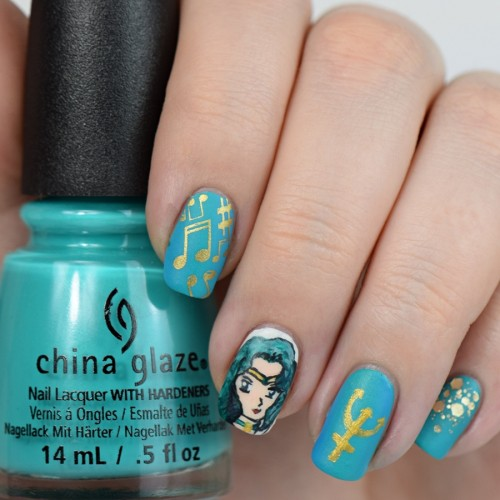 Sailor Neptune Nail Art zur Sailor Moon Blogparade
