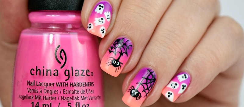 Halloween Nails cute spiders and ghosts