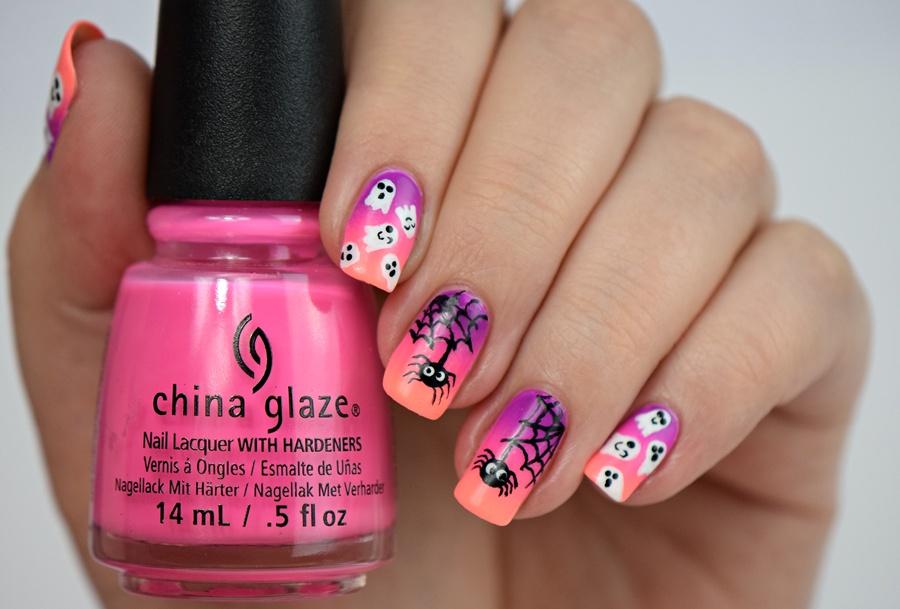 Halloween Nails 2016: Nageldesign für Halloween für kurze Nägel und für lange Nägel gleichermaßen. Einfaches Nageldesign für Halloween