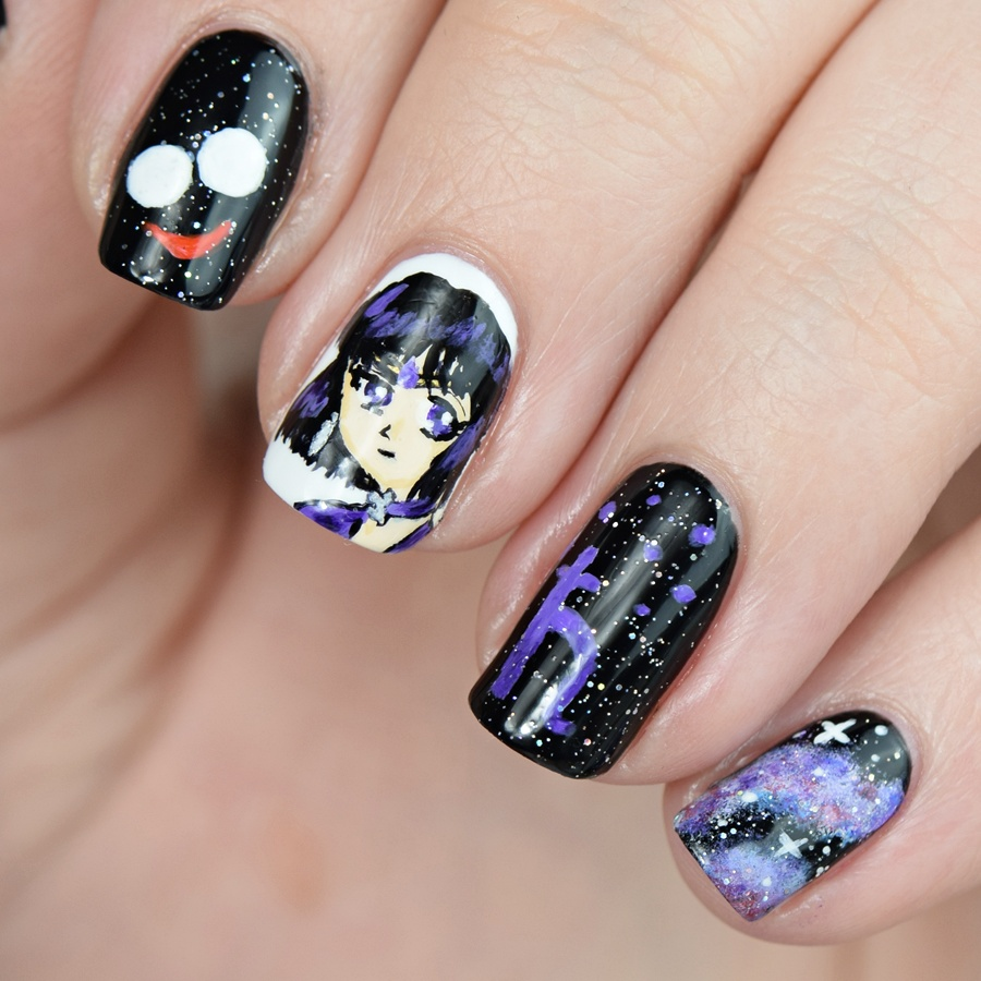 Sailor Saturn Nageldesign Freihand mit Acrylfarben