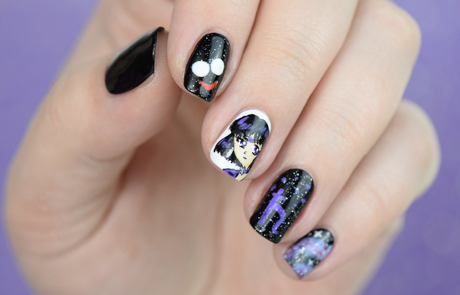 Sailor Moon Blogparade - Sailor Saturn Nageldesign Ideen 2016