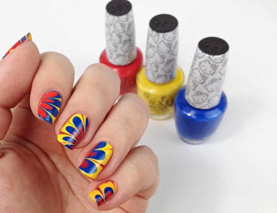 Water Marble Nageldesign mit Nagellack und Wasser: Nägel Muster selber machen dank Nail Art Tutorial