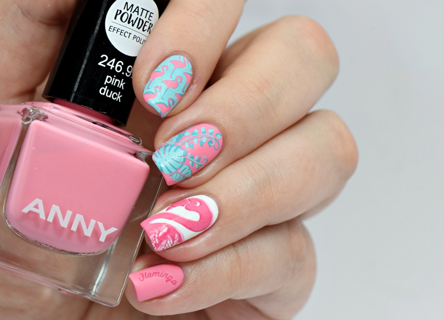 Anny pink duck Flamingo Nails Nail Art