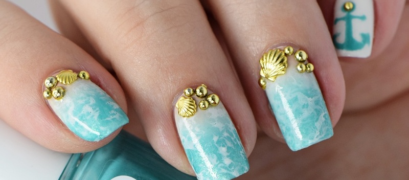 Beach Nails 2016 Gradient Water Spotted Nail Art