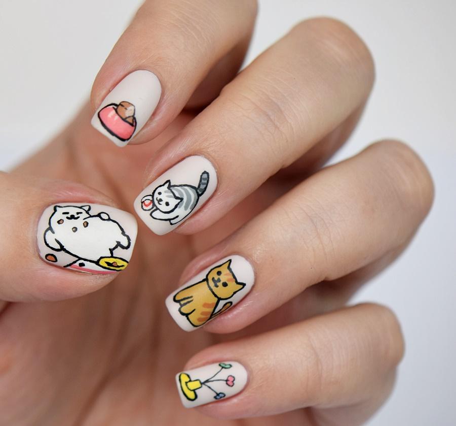 Neko Atsume Nail Design: Nageldesign mit Katzen selber machen Anleitung / Tutorial
