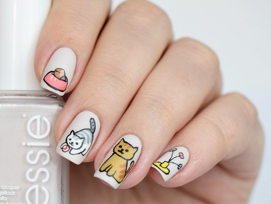 Neko Atsume Nails: KAtzen Nageldesign selber machen Anleitung