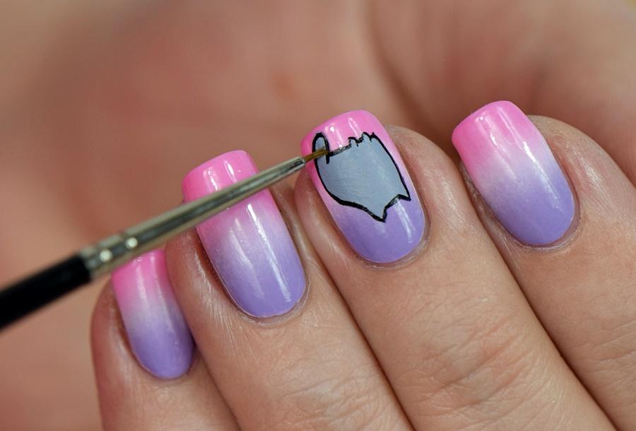 pusheen-nageldesign-fuer-halloween-selber-machen-mit-nagellack-und-acrylfarben