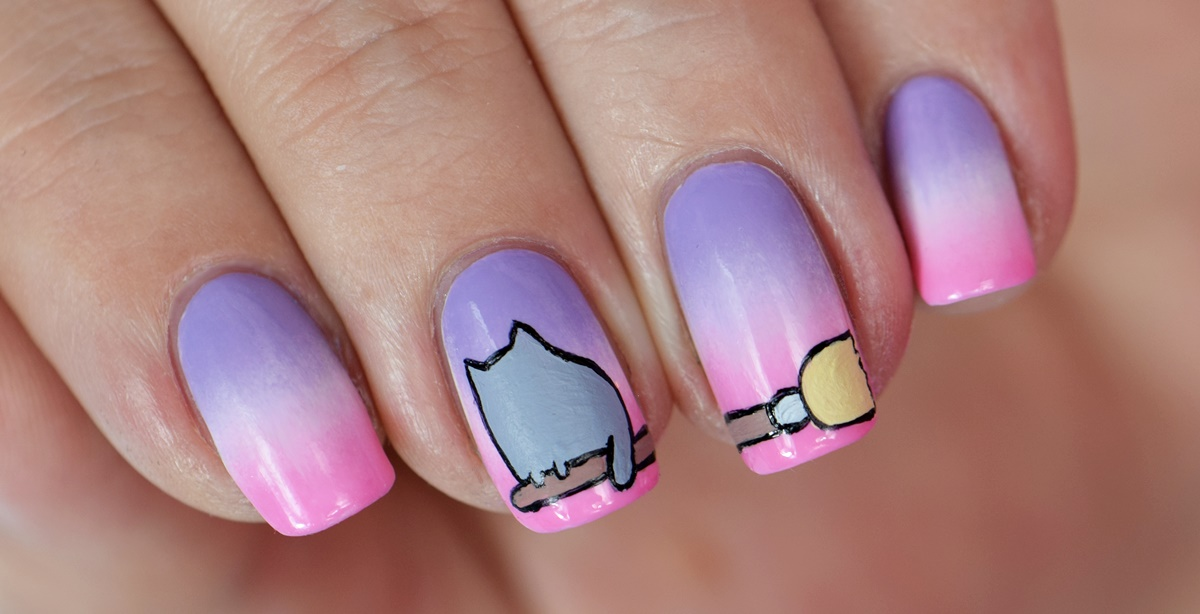 pusheen-nageldesign-selber-machen-halloween-nail-art