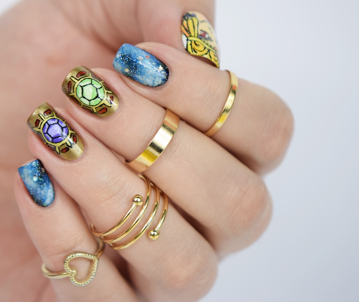 Sailor Moon Sailor Galaxia Anime Nägel: Sailor Galaxia Nageldesign handgemalt